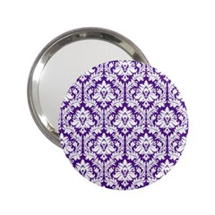 White On Purple Damask Handbag Mirror (2 25 ) by Zandiepants