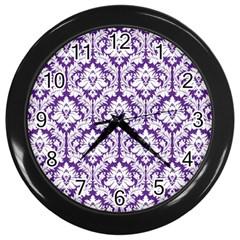 White On Purple Damask Wall Clock (black) by Zandiepants