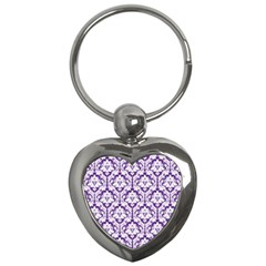 White On Purple Damask Key Chain (heart) by Zandiepants