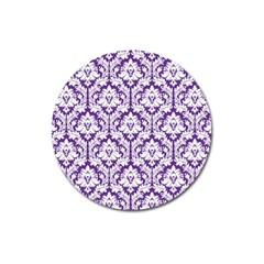 White On Purple Damask Magnet 3  (round)