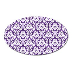 White On Purple Damask Magnet (oval) by Zandiepants