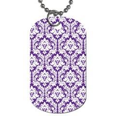 White On Purple Damask Dog Tag (one Sided) by Zandiepants