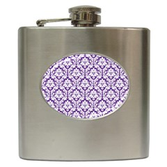 White On Purple Damask Hip Flask by Zandiepants