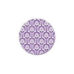 White On Purple Damask Golf Ball Marker by Zandiepants