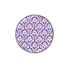 White On Purple Damask Golf Ball Marker (for Hat Clip) by Zandiepants