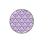 White on Purple Damask Golf Ball Marker (for Hat Clip) Front