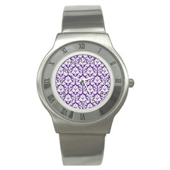 White On Purple Damask Stainless Steel Watch (slim) by Zandiepants