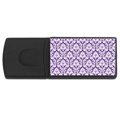 White On Purple Damask 4gb Usb Flash Drive (rectangle) by Zandiepants
