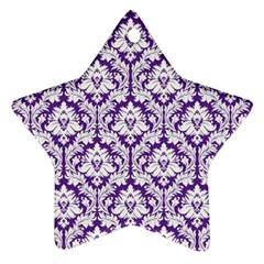 White On Purple Damask Star Ornament (two Sides) by Zandiepants