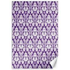White on Purple Damask Canvas 12  x 18  (Unframed) by Zandiepants