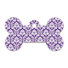 White On Purple Damask Dog Tag Bone (two Sided) by Zandiepants