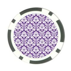 White On Purple Damask Poker Chip by Zandiepants