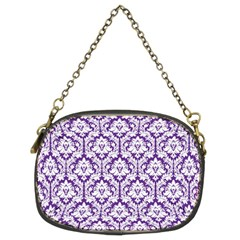 Royal Purple Damask Pattern Chain Purse (two Sides) by Zandiepants