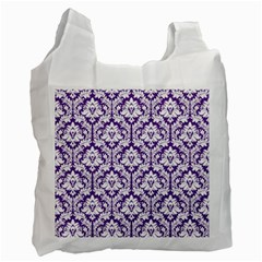 White On Purple Damask White Reusable Bag (one Side) by Zandiepants