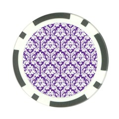 White On Purple Damask Poker Chip (10 Pack) by Zandiepants