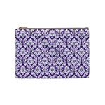 White on Purple Damask Cosmetic Bag (Medium) Front