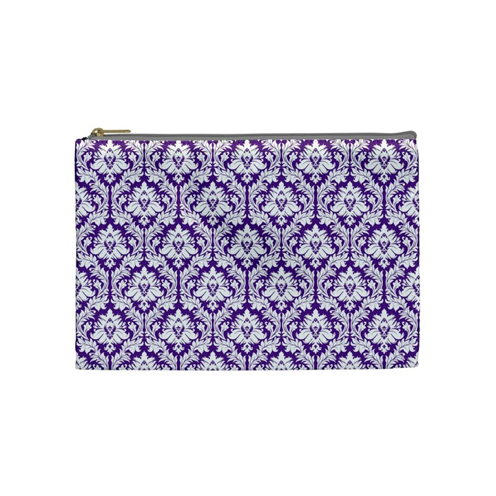 White on Purple Damask Cosmetic Bag (Medium)