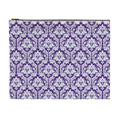 White On Purple Damask Cosmetic Bag (xl)