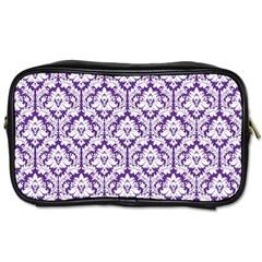 Royal Purple Damask Pattern Toiletries Bag (two Sides) by Zandiepants