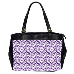 Royal Purple Damask Pattern Oversize Office Handbag (2 Sides) by Zandiepants