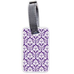 White On Purple Damask Luggage Tag (two Sides) by Zandiepants