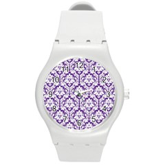 White On Purple Damask Plastic Sport Watch (medium) by Zandiepants