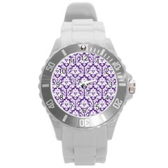 White On Purple Damask Plastic Sport Watch (large) by Zandiepants