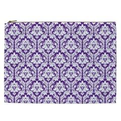Royal Purple Damask Pattern Cosmetic Bag (xxl) by Zandiepants