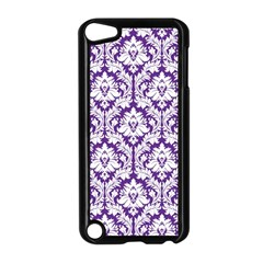White On Purple Damask Apple Ipod Touch 5 Case (black) by Zandiepants