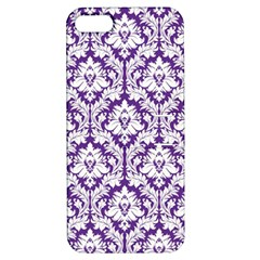White On Purple Damask Apple Iphone 5 Hardshell Case With Stand by Zandiepants
