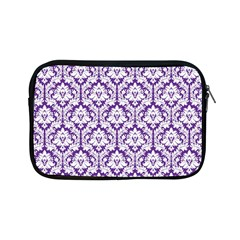 White On Purple Damask Apple Ipad Mini Zippered Sleeve by Zandiepants