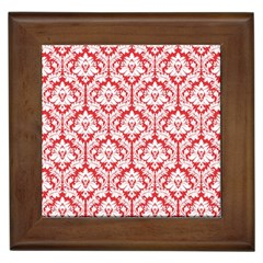 White On Red Damask Framed Ceramic Tile by Zandiepants