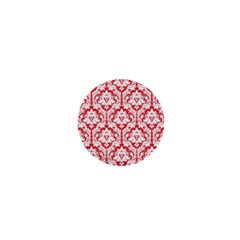 White On Red Damask 1  Mini Button Magnet by Zandiepants