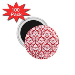 White On Red Damask 1 75  Button Magnet (100 Pack) by Zandiepants