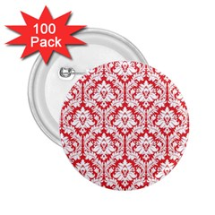 White On Red Damask 2.25  Button (100 pack) by Zandiepants