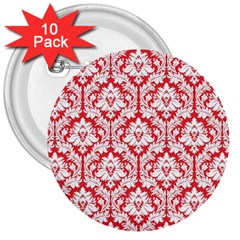 White On Red Damask 3  Button (10 Pack) by Zandiepants