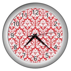 White On Red Damask Wall Clock (silver) by Zandiepants