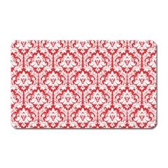 White On Red Damask Magnet (rectangular) by Zandiepants