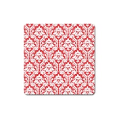 White On Red Damask Magnet (square) by Zandiepants