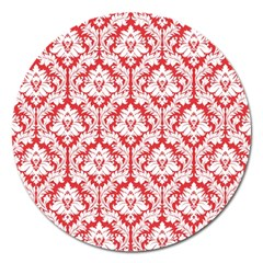 White On Red Damask Magnet 5  (round) by Zandiepants