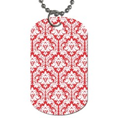 White On Red Damask Dog Tag (one Sided) by Zandiepants