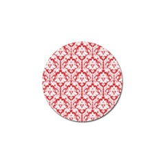 White On Red Damask Golf Ball Marker 4 Pack by Zandiepants