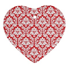 White On Red Damask Heart Ornament (two Sides) by Zandiepants
