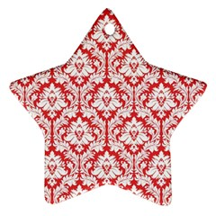 White On Red Damask Star Ornament (two Sides) by Zandiepants