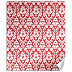 White On Red Damask Canvas 20  X 24  (unframed) by Zandiepants
