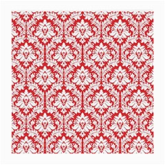 White On Red Damask Glasses Cloth (Medium) by Zandiepants