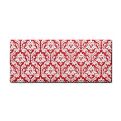 White On Red Damask Hand Towel by Zandiepants