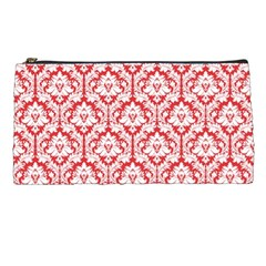 Poppy Red Damask Pattern Pencil Case