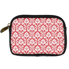 White On Red Damask Digital Camera Leather Case by Zandiepants