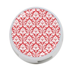 White On Red Damask 4-Port USB Hub (Two Sides) by Zandiepants